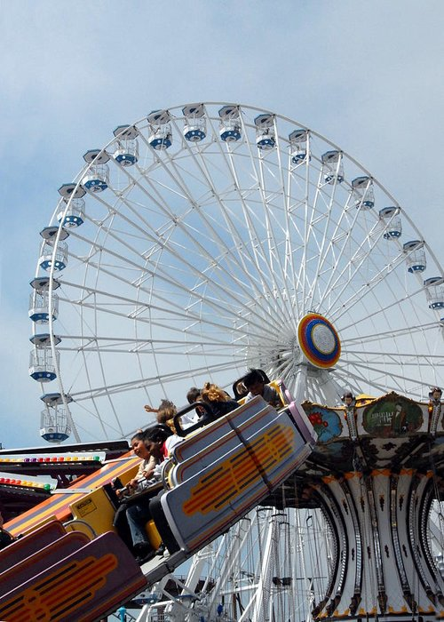 Giant Large Ferris Wheels Greeting Card featuring the photograph Amusement 14 by Joyce StJames
