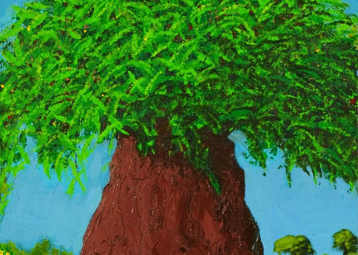 Tree Greeting Card featuring the painting Amy's Tree by Angela Annas