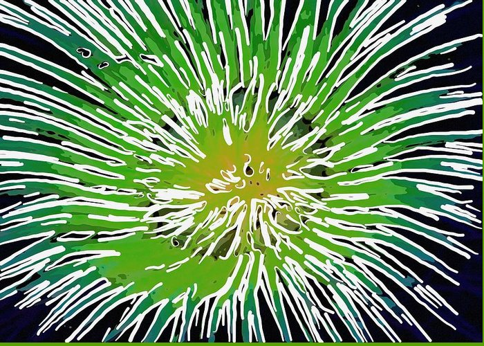 Starfish Greeting Card featuring the painting An Abstract Scene Of Sea Anemone 2 by Lanjee Chee