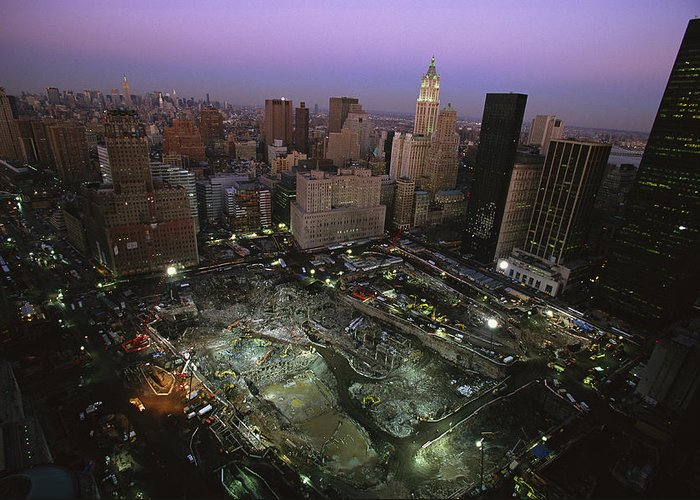 Disasters Greeting Card featuring the photograph An Aerial View Of Ground Zero by Ira Block