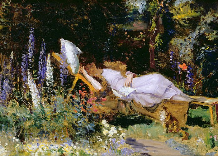 Afternoon Greeting Card featuring the painting An Afternoon Nap by Harry Mitten Wilson