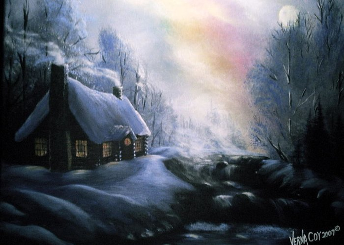 Alaska Alaskan Christmas Winter Cabin Scenery Greeting Card featuring the painting An Alaskan Night by Verna Coy