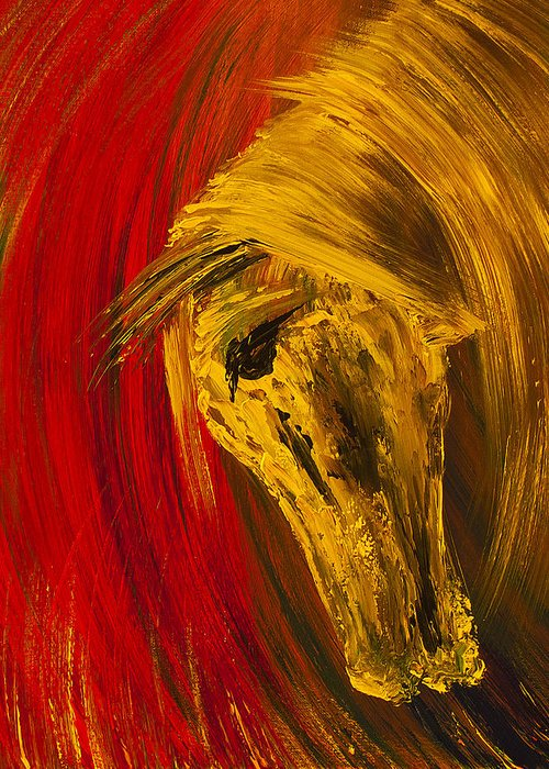 Horse Greeting Card featuring the painting An Amber Soul by Nandita Albright