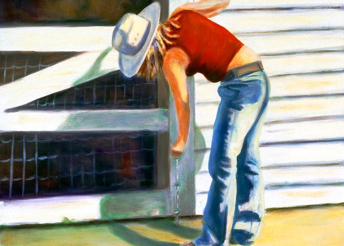 Red Greeting Card featuring the painting An American Girl by Shannon Grissom