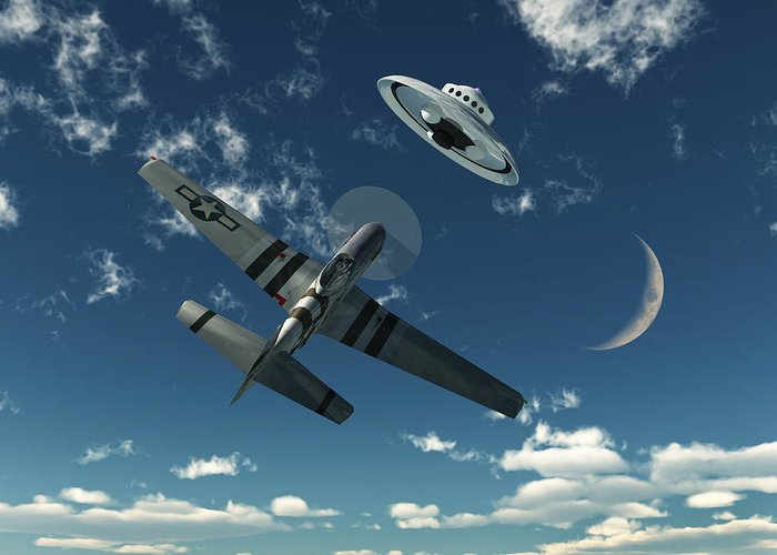 Chasing Greeting Card featuring the digital art An American P-51 Mustang Gives Chase by Mark Stevenson