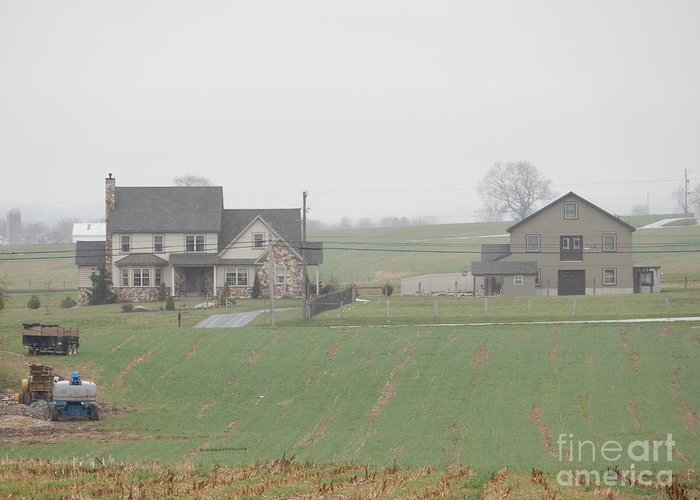 Amish Greeting Card featuring the photograph An Amish Family Home by Christine Clark