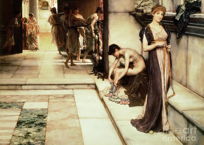 Apodyterium Greeting Card featuring the painting An Apodyterium by Sir Lawrence Alma-Tadema