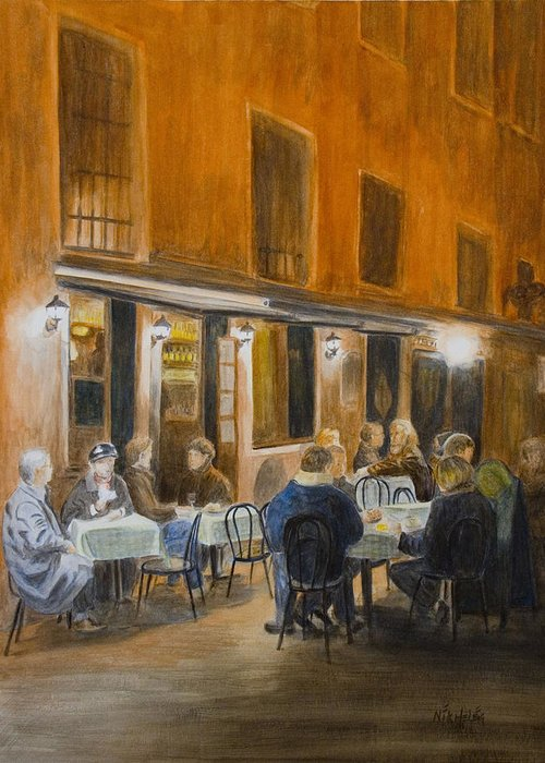 Venice Greeting Card featuring the painting An Autumn by Nik Helbig