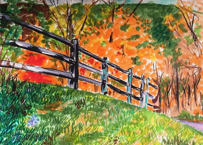 Autumn Greeting Card featuring the painting An Autumn Stroll in the Woods by Judy Swerlick
