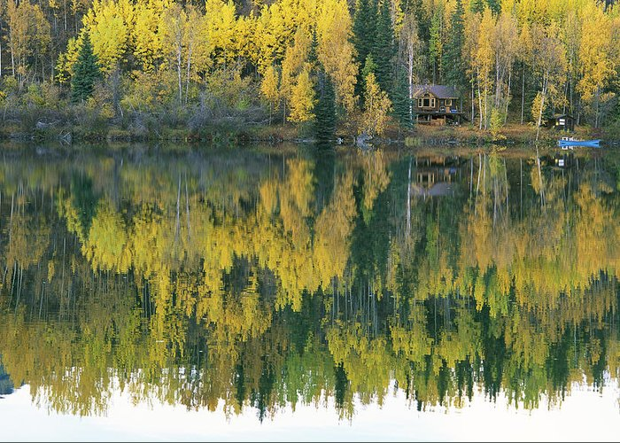 North America Greeting Card featuring the photograph An Autumn View Of A Cabin Reflected by Rich Reid