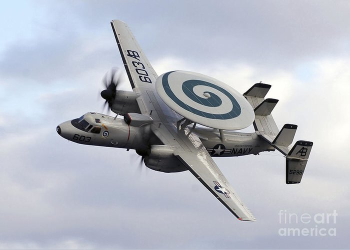 Turning Greeting Card featuring the photograph An E-2c Hawkeye Performs A Fly-by by Stocktrek Images