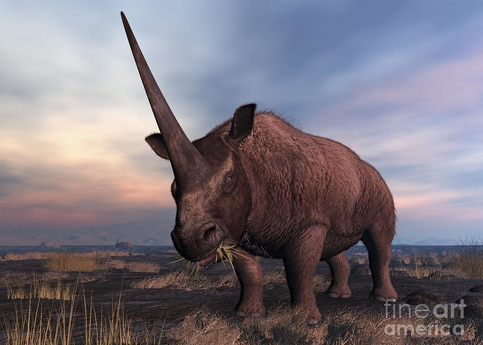 Earth Greeting Card featuring the digital art An Elasmotherium Grazing by Walter Myers