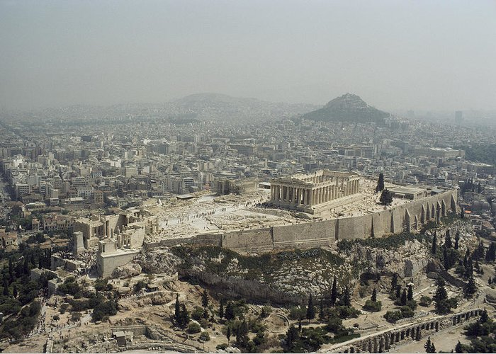 Architecture And Art Greeting Card featuring the photograph An Elevated View Of The Parthenon by James P. Blair
