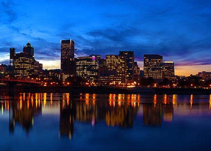 Portland Oregon Greeting Card featuring the photograph An Evening In Portland by Brian Bonham