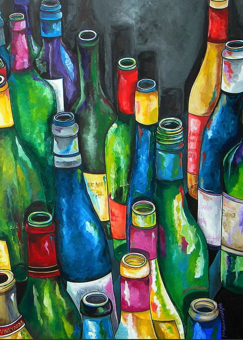 Wine Greeting Card featuring the painting An Evening With Friends by Patti Schermerhorn