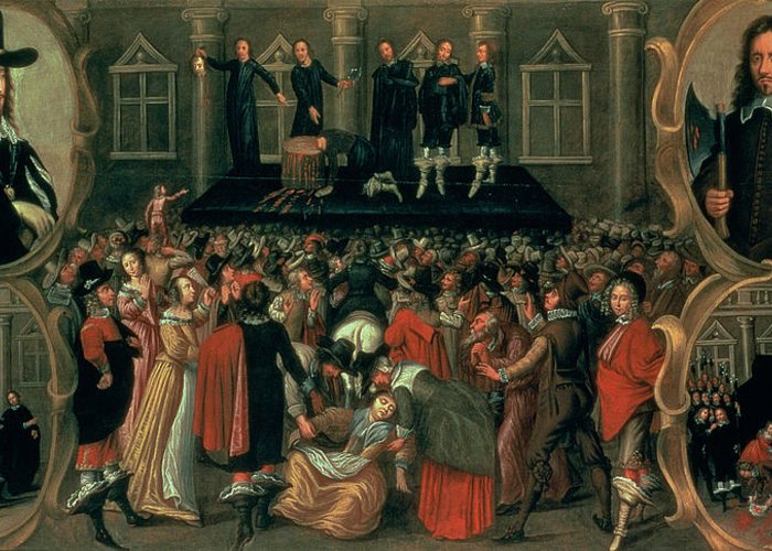 Eyewitness Greeting Card featuring the painting An Eyewitness Representation of the Execution of King Charles I by John Weesop