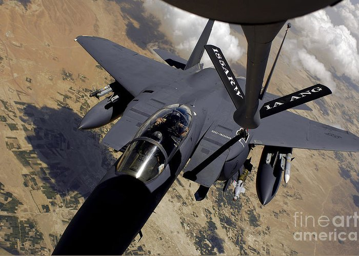 High Angle View Greeting Card featuring the photograph An F-15 Strike Eagle Prepares by Stocktrek Images