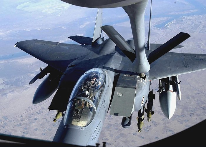 Horizontal Greeting Card featuring the photograph An F-15e Strike Eagle Refuels Over Iraq by Stocktrek Images