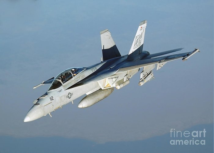 Horizontal Greeting Card featuring the photograph An Fa-18f Super Hornet Conducts by Stocktrek Images