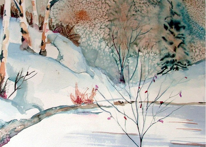 Winter Greeting Card featuring the painting An Icy Winter by Mindy Newman