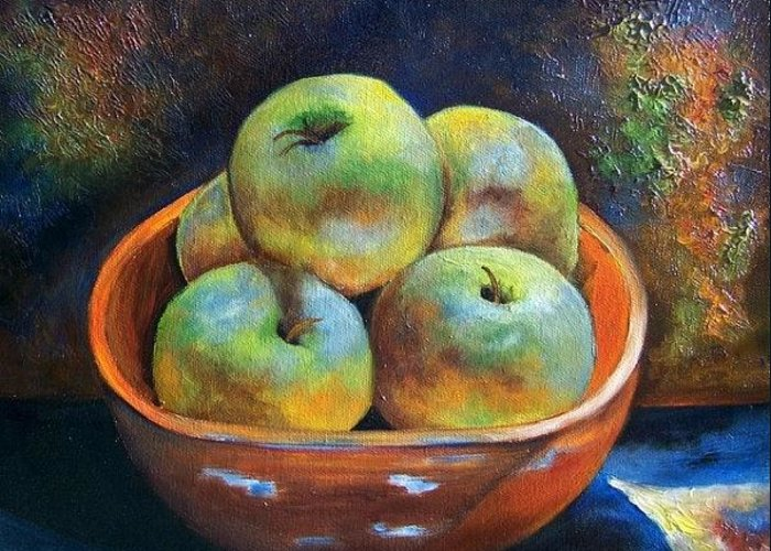 Still Life Greeting Card featuring the painting An Impression Of Apples by Susan Dehlinger