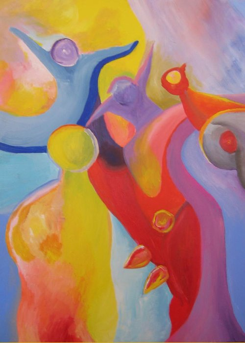Abstract Greeting Card featuring the painting An Interdimensional Link by Peter Shor