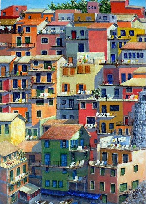 Manarola Greeting Card featuring the painting An Italian Village by Dan Bozich