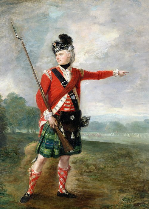 An Officer Of The Light Company Of The 73rd Highlanders Greeting Card featuring the painting An Officer Of The Light Company Of The 73rd Highlanders by Scottish School