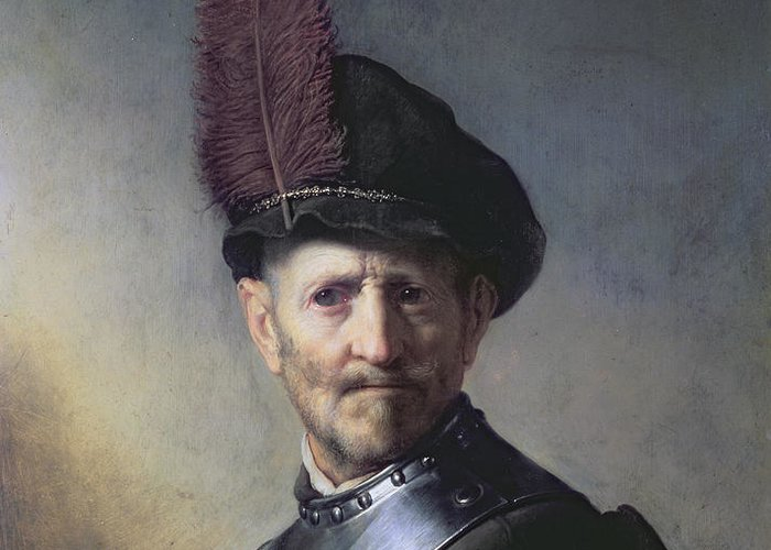 Old Greeting Card featuring the painting An Old Man In Military Costume by Rembrandt