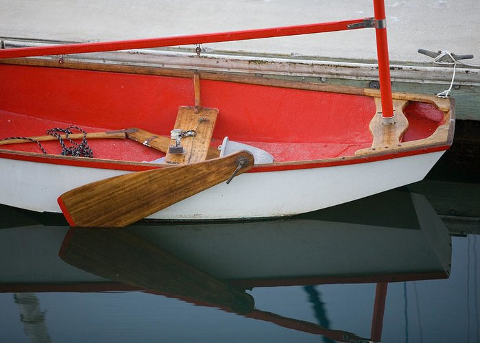 Boat Greeting Card featuring the photograph An Old Sailboat Tied To The Dock by Michael S. Lewis