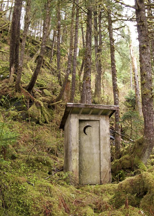 Outdoors Greeting Card featuring the photograph An Outhouse In A Moss Covered Forest by Michael Melford
