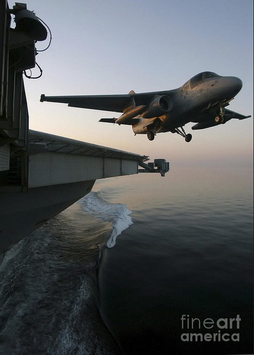 Color Image Greeting Card featuring the photograph An S-3b Viking Clears The Flight Deck by Stocktrek Images