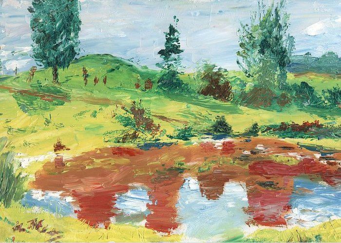 Landscape Greeting Card featuring the painting An Upland Meadow by Horacio Prada