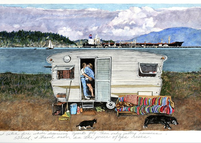 Love Greeting Card featuring the painting Anacortes Fuel by Perry Woodfin