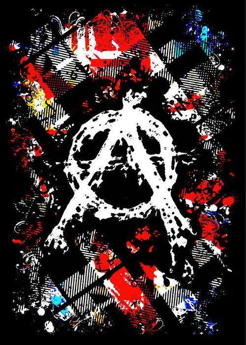 Punk Greeting Card featuring the digital art Anarchy Punk by Roseanne Jones