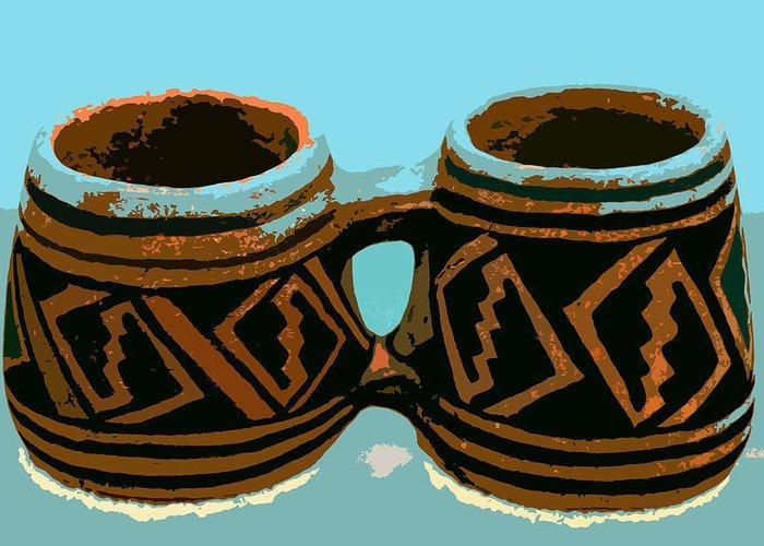 Anasazi Greeting Card featuring the painting Anasazi Double Mug by David Lee Thompson