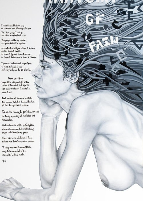 Poetry Greeting Card featuring the painting Anatomy Of Pain by Judy Henninger