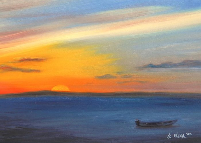 Oil Greeting Card featuring the painting Anchored At Sunset by Greg Neal