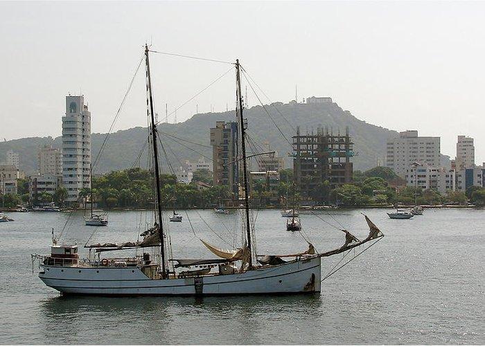 Ship Greeting Card featuring the photograph Anchored Sailboat by Brett Winn