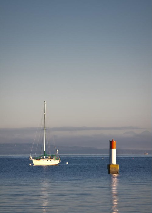 Anchored Greeting Card featuring the photograph Anchored Sailboat by R J Ruppenthal