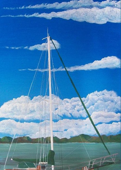 Anchored Greeting Card featuring the painting Anchored by Tony Rodriguez