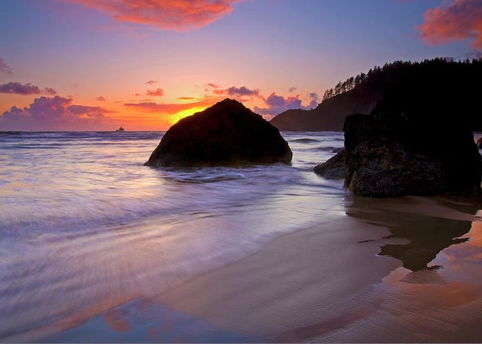Sunset Greeting Card featuring the photograph Anchoring The Beach by Mike Dawson