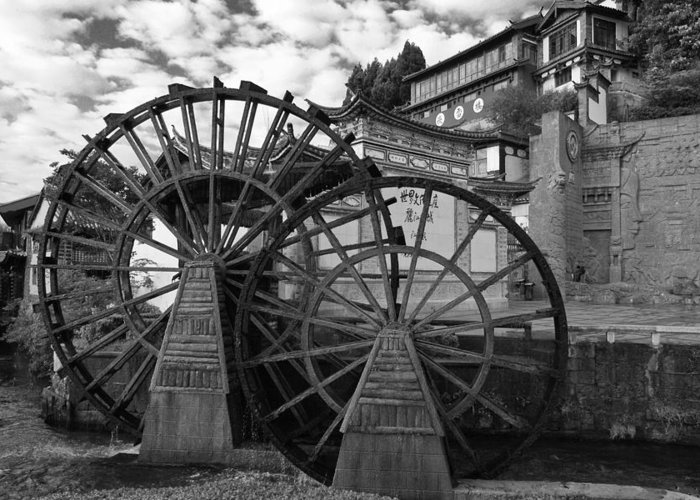Asia Greeting Card featuring the photograph Ancient Chinese Waterwheels by Michele Burgess
