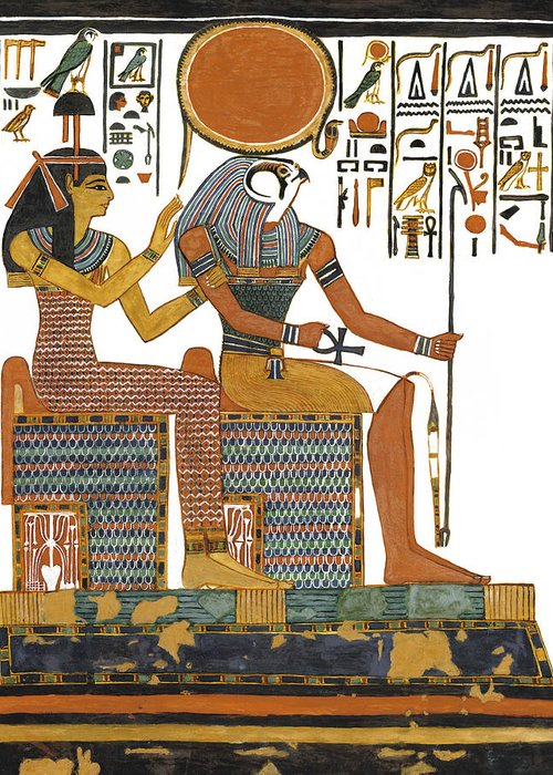 Ancient Egyptian God Greeting Card featuring the painting Ancient Egyptian Gods Hathor And Re by Ben Morales-Correa