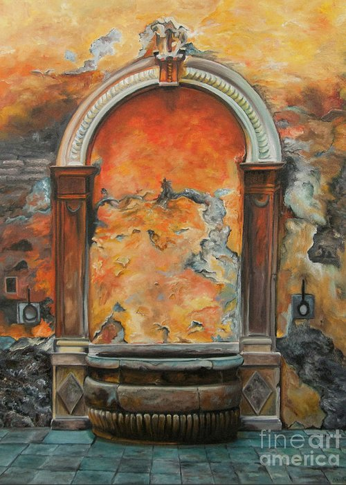 Fountain Painting Greeting Card featuring the painting Ancient Italian Fountain by Charlotte Blanchard