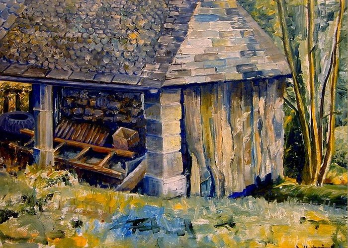 Architecture Greeting Card featuring the painting Ancient Mill by Wendy Head