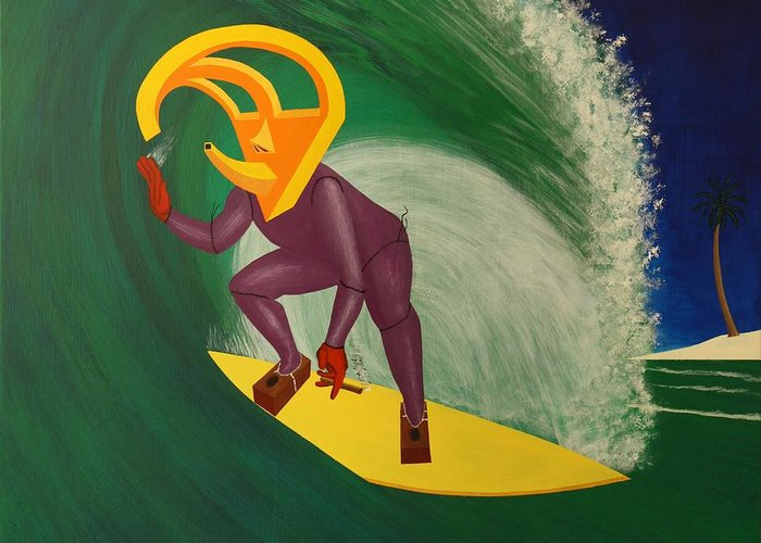 Surreal Greeting Card featuring the painting Ancient Relic Surfing by Rudy Pavlina