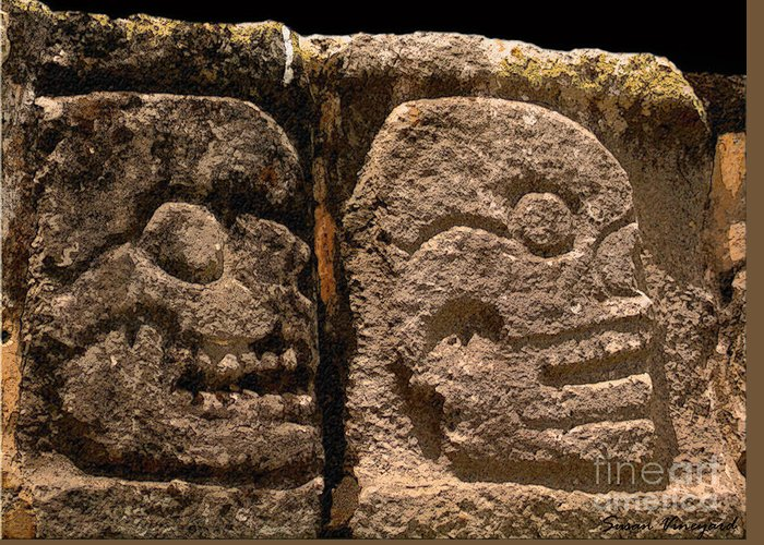 Mayan Greeting Card featuring the photograph Ancient Skulls by Susan Vineyard