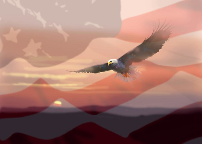 Eagle Greeting Card featuring the painting And The Eagle Flies by Paul Sachtleben