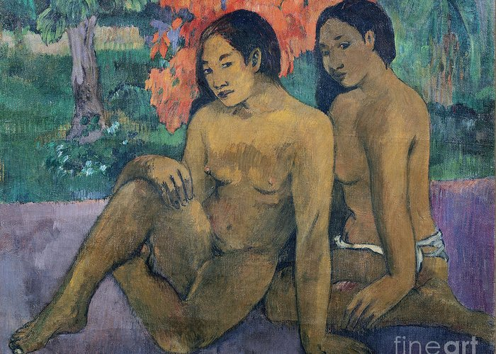 And Greeting Card featuring the painting And The Gold Of Their Bodies by Paul Gauguin